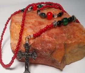 Red, Black, Green and Metal Rosary